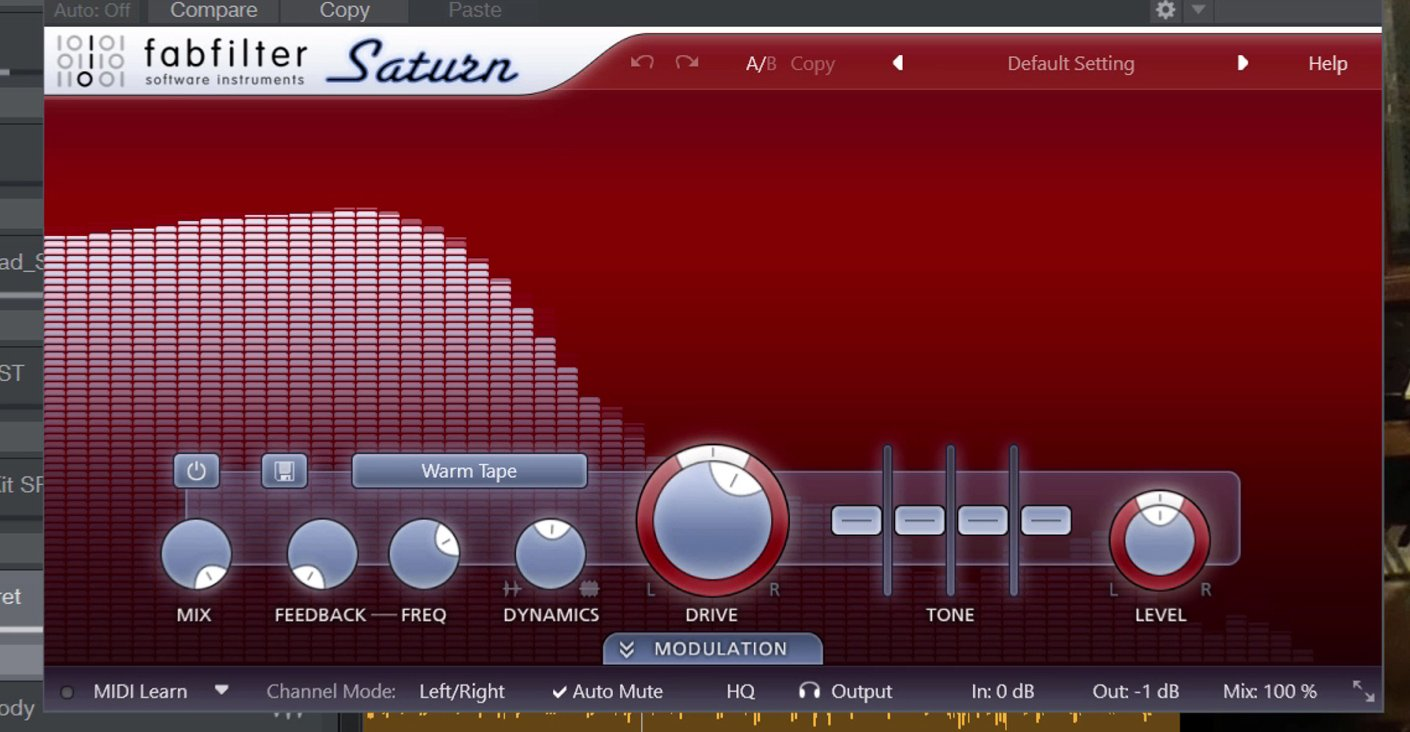 Screenshot of the Fabfilter Saturn VST Plugin processing a double bass recording