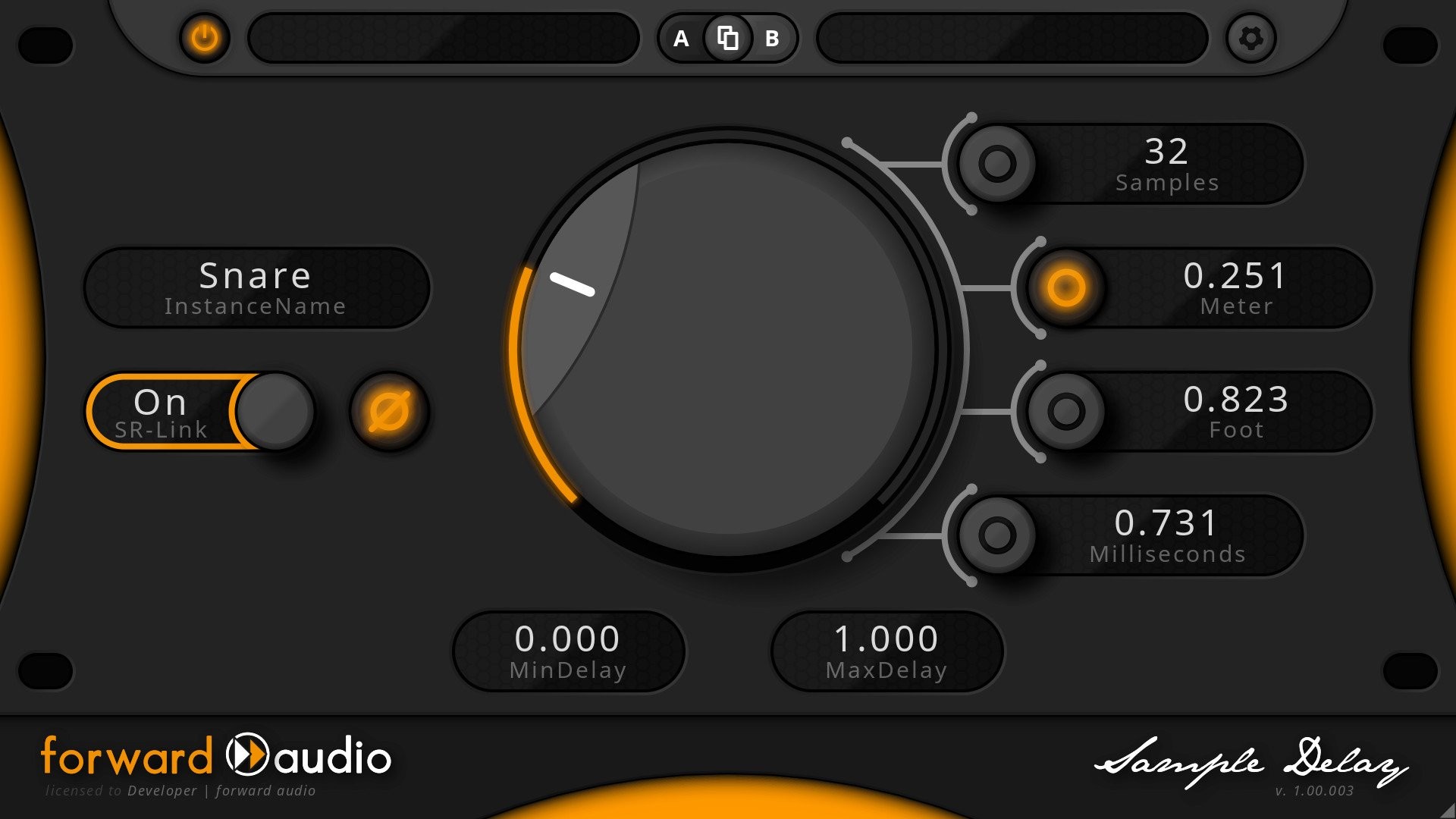 Screenshot of the Phase Alignment Plugin free faSampleDelay - Available as VST / AU / AAX