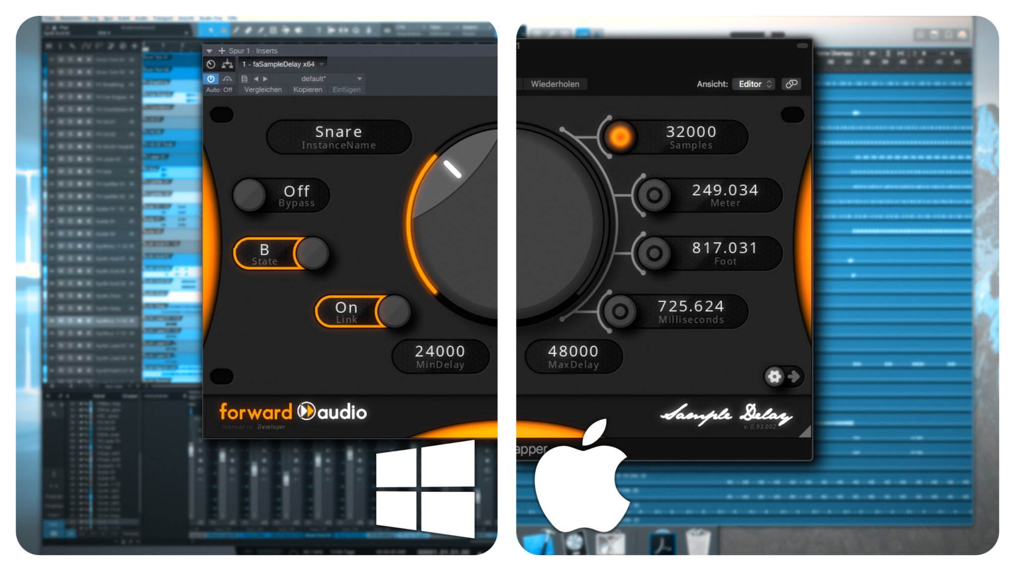 A split screen between a Mac and a Windows PC running the VST/AU Plugin faSampleDelay