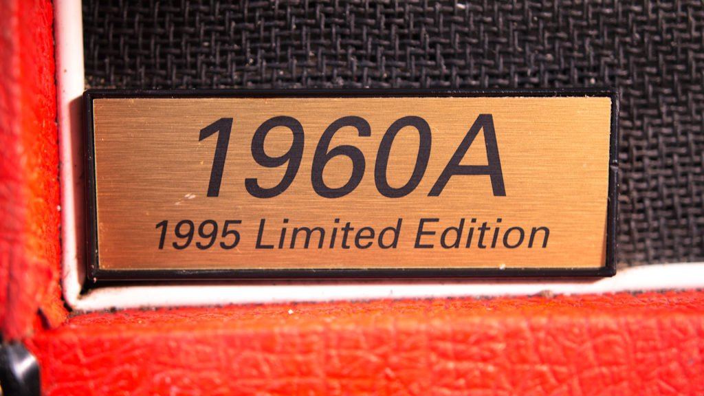 Closeup of the type badge of a Marshall 1960A 1995 Limited Edition guitar cabinet