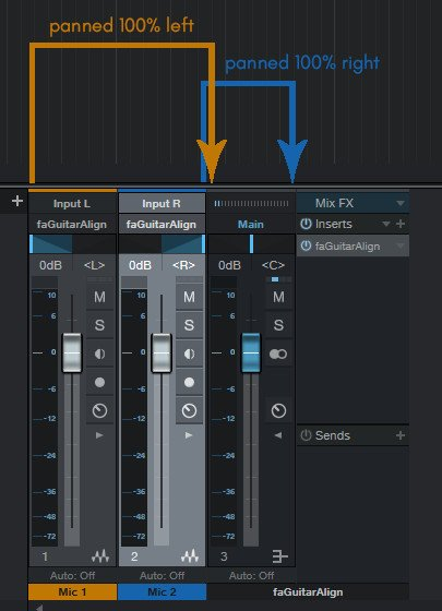 Screenshot of a Routing example for the Automatic Phase Alignment faGuitarAlign in the DAW Presonus Studio One