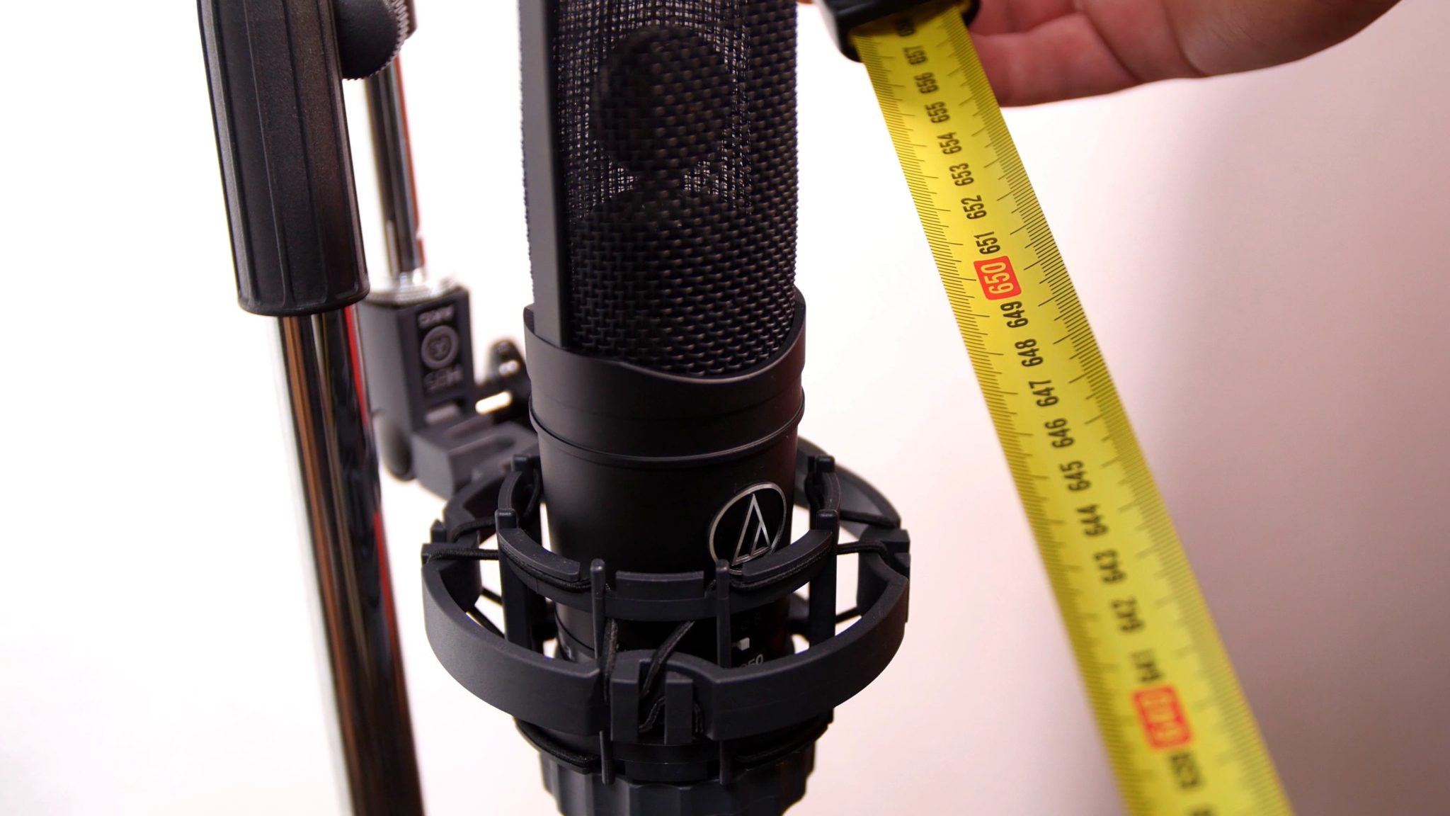 An Audio Technica AT4050 used as a room mic in a guitar recording.