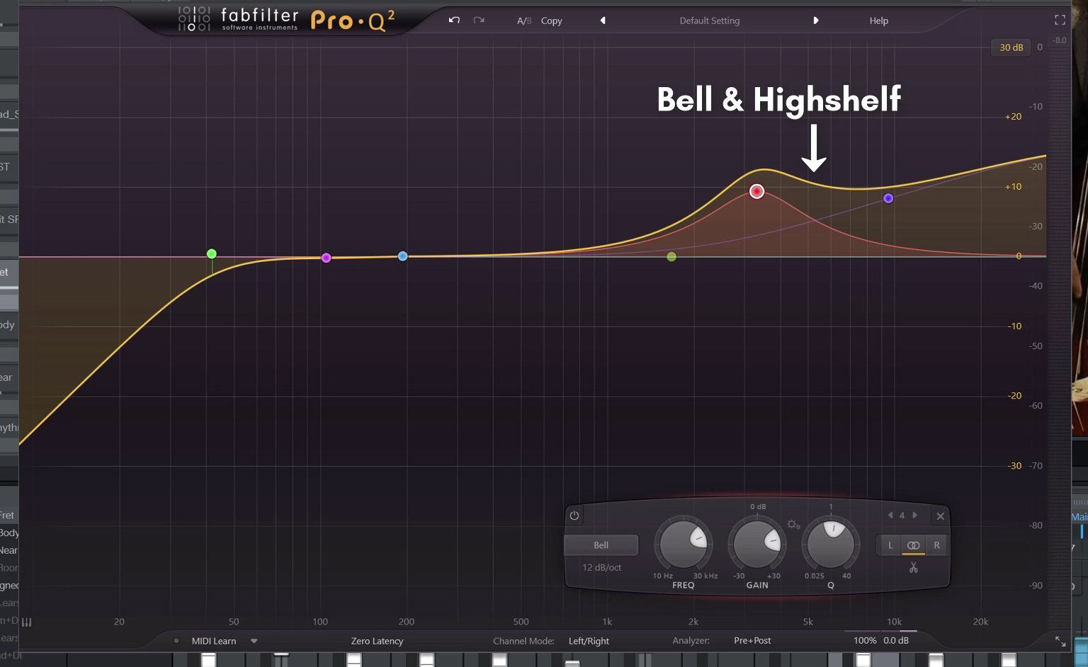 Screenshot of the Fabfilter ProQ VST Plugin applying a bell and highshelf EQ to a double bass recording