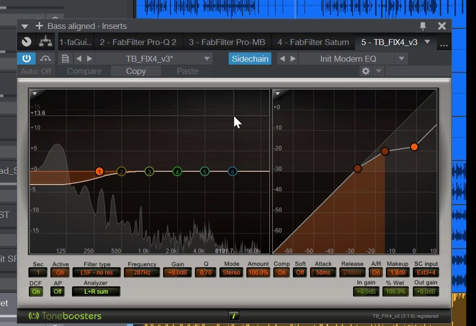 Screenshot of the Toneboosters Flux 4 VST Plugin used for side-chain compression on a double bass