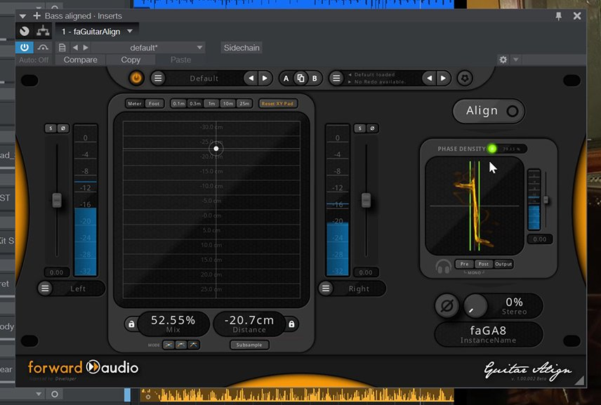 Screenshot of the faGuitarAlign VST Automatic Phase Alignment Plugin processing double bass mic tracks