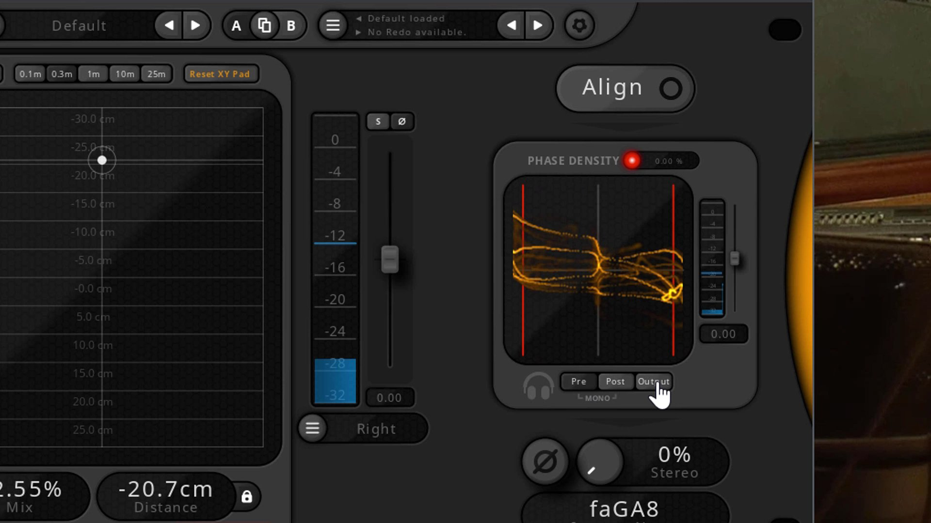 Screenshot of the faGuitarAlign VST Automatic Phase Alignmen Plugin processing double bass mic tracks