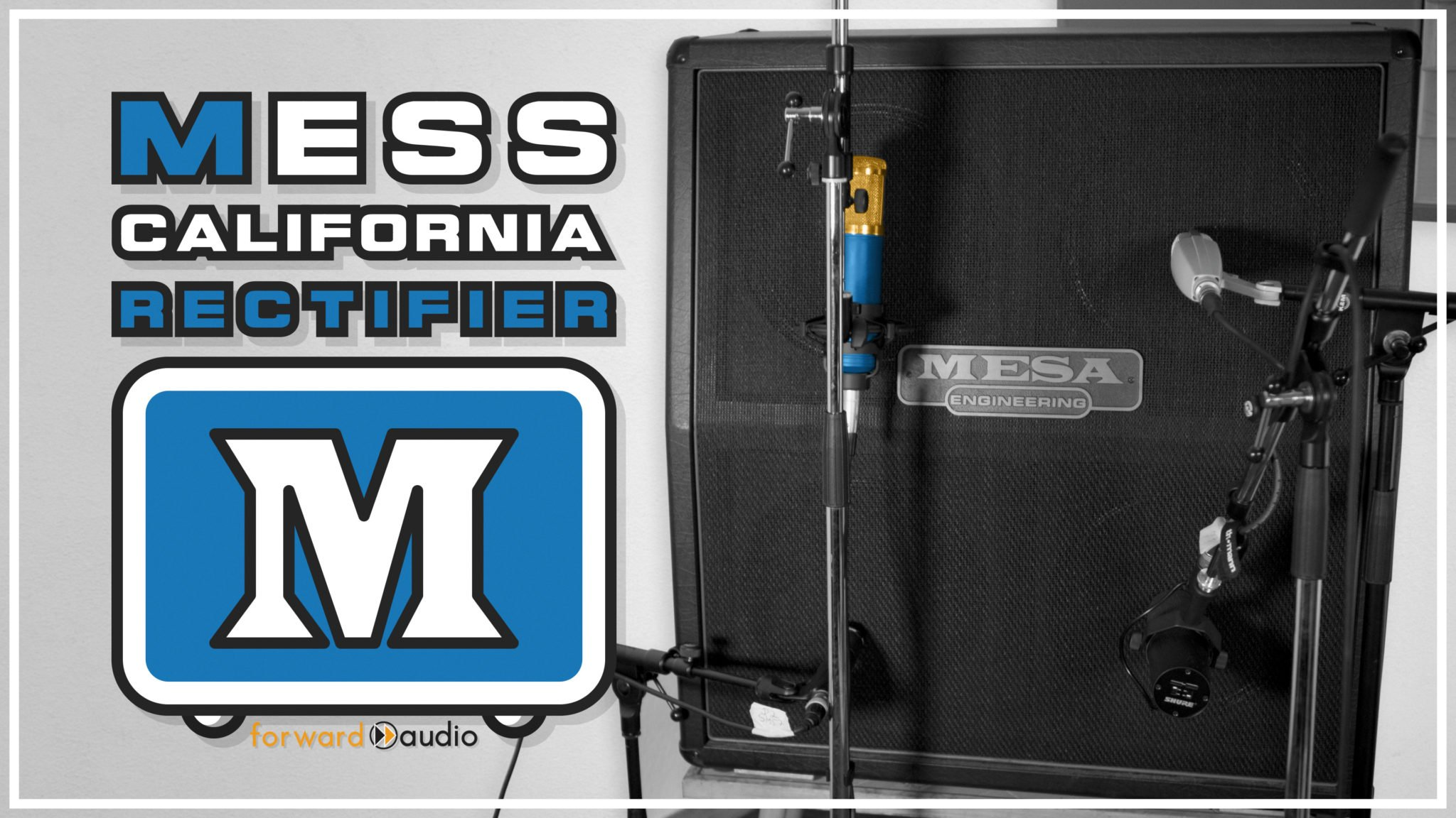 Picture of a Mesa Boogie 4x12 Dual Rectifier Guitar Cab loaded with Celestion Vintage 30 speakers and mics like Sennheiser MD421, Shure SM57, Shure SM7B, t.bone SCT800