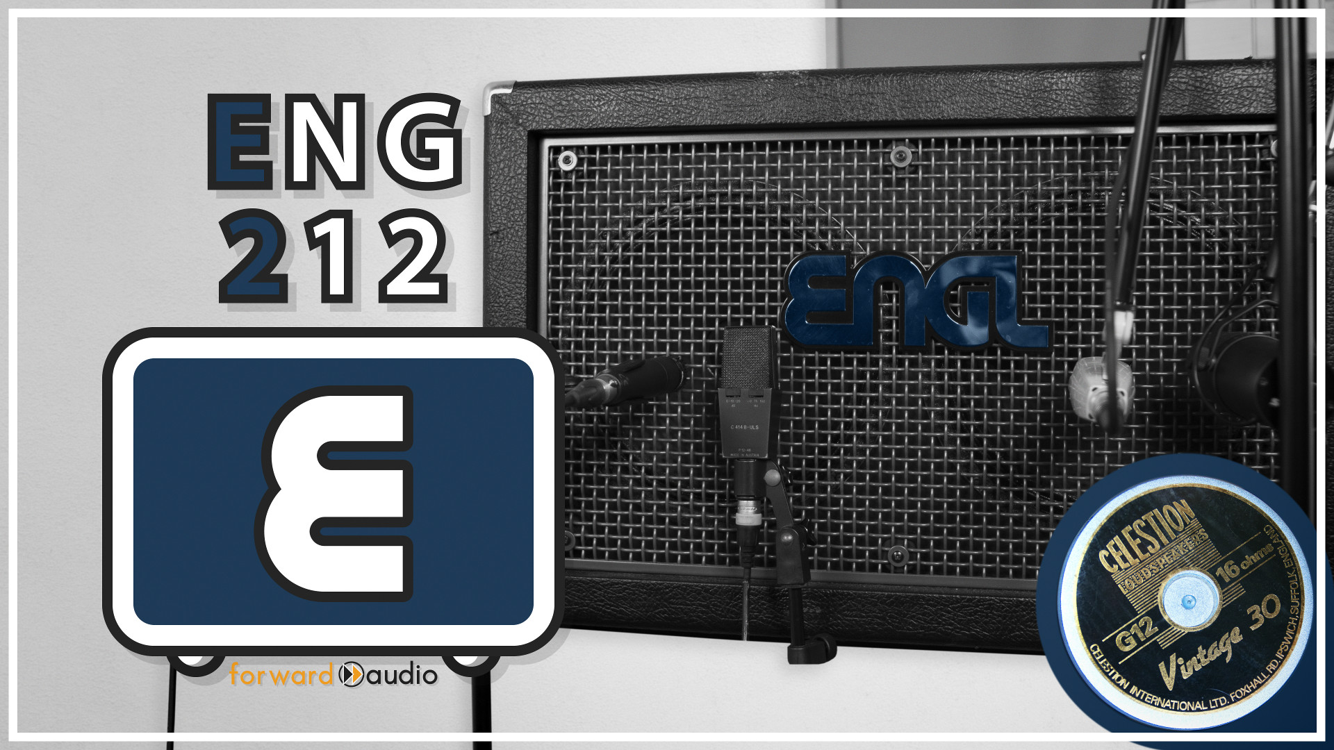 Picture of a Engl E 212VH Vintage 2×12Guitar Cabinet loaded with Celestion Vintage 30 speakers and different popular guitar microphones