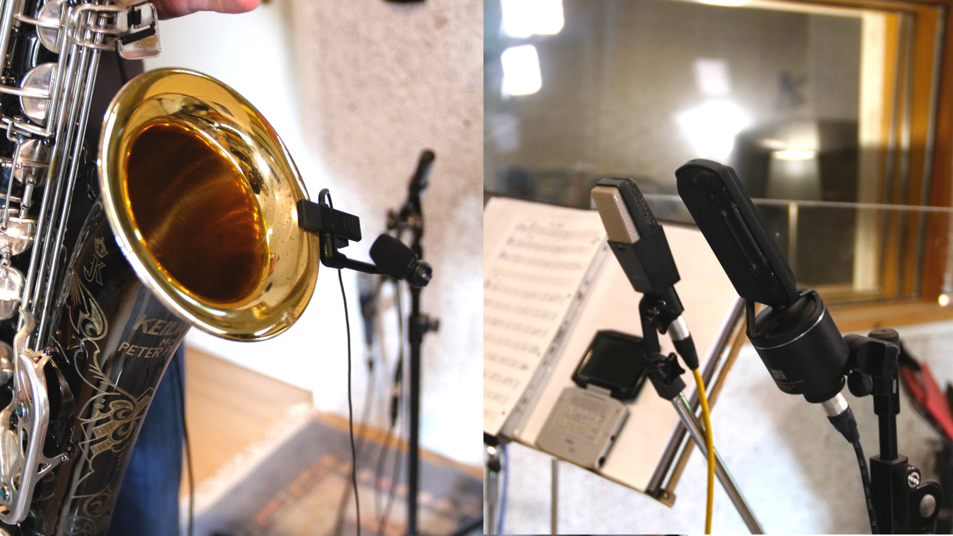 A saxophone recorded with 3 different mics. A clip mic, an AKG C414 and a RØDE NTR